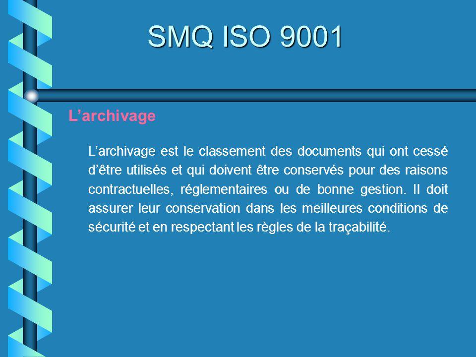 SMQ ISO 9001 Larchivage Larchivage est le classement des documents qui ont cessé dêtre utilisés et qui doivent être conservés pour des raisons contrac