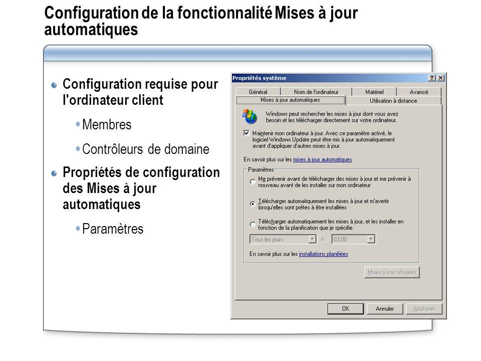 Configuration de la fonctionnalité Mises à jour automatiques Configuration requise pour l'ordinateur client Membres Contrôleurs de domaine Propriétés