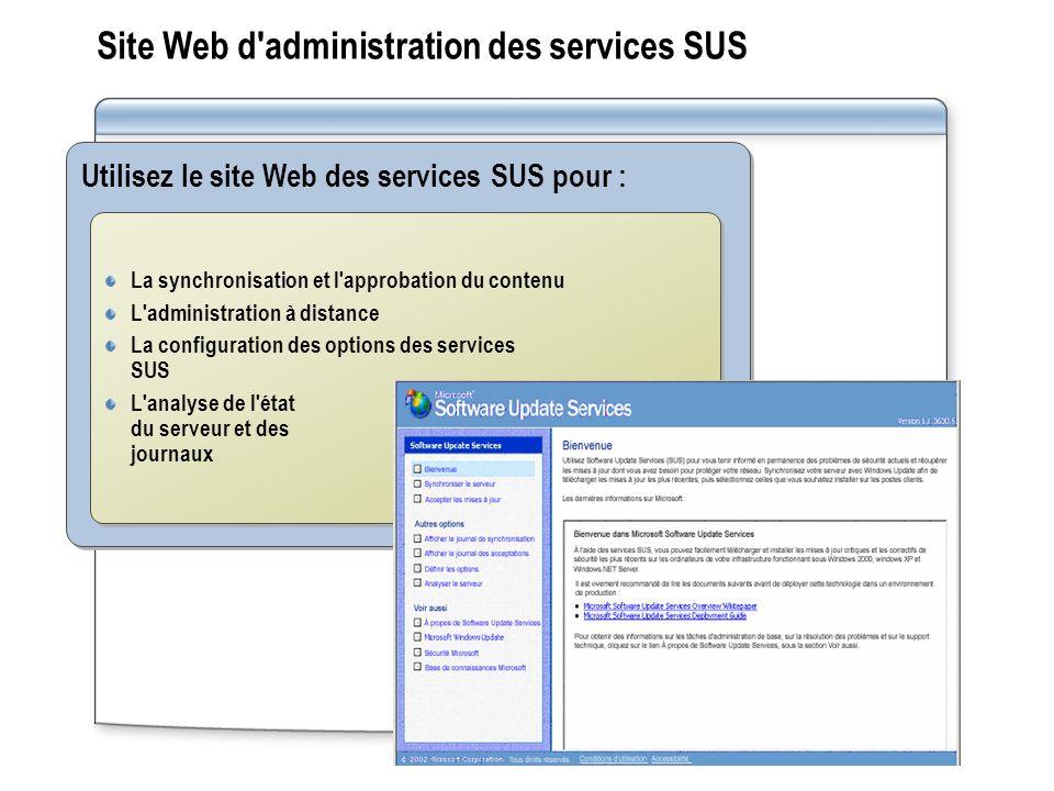 Site Web d'administration des services SUS Utilisez le site Web des services SUS pour : La synchronisation et l'approbation du contenu L'administratio