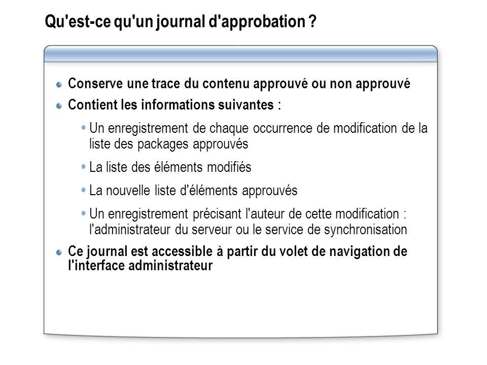Qu'est-ce qu'un journal d'approbation ? Conserve une trace du contenu approuvé ou non approuvé Contient les informations suivantes : Un enregistrement