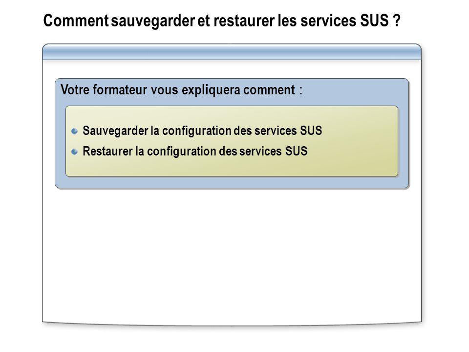 Comment sauvegarder et restaurer les services SUS ? Votre formateur vous expliquera comment : Sauvegarder la configuration des services SUS Restaurer