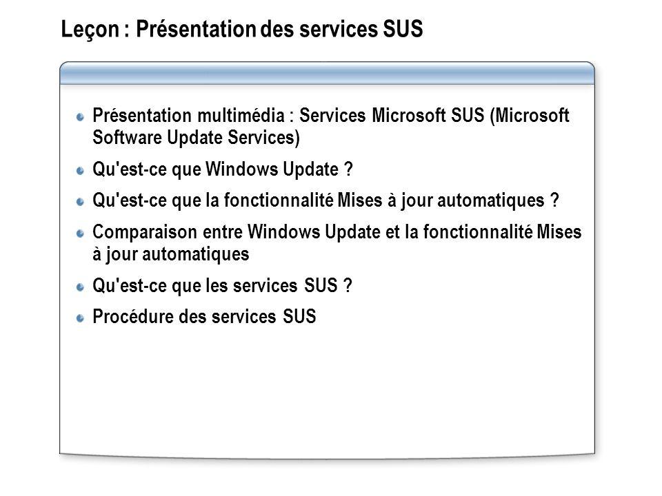 Présentation multimédia : Services Microsoft SUS (Microsoft Software Update Services) Cette présentation offre une vue d ensemble détaillée des services SUS et explique comment ils simplifient la maintenance des systèmes Windows à l aide des dernières mises à jour