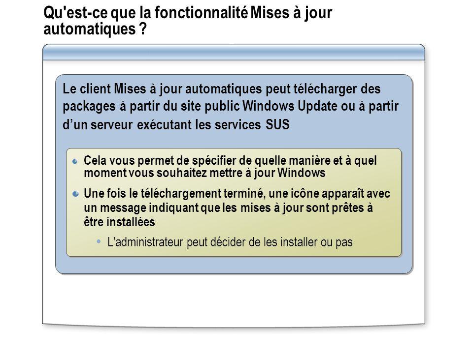 Qu'est-ce que la fonctionnalité Mises à jour automatiques ? Le client Mises à jour automatiques peut télécharger des packages à partir du site public