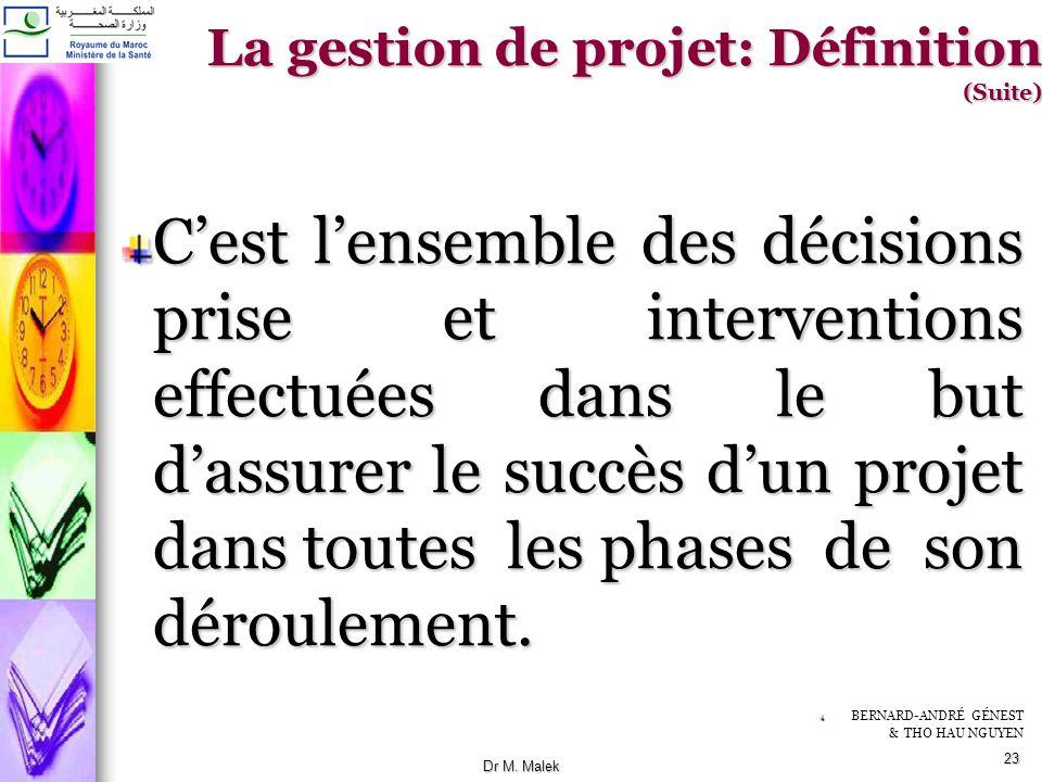 22 la gestion de projet est lapplication de connaissances, de compétences, doutils et de méthodes aux activités dun projet afin de répondre aux besoin