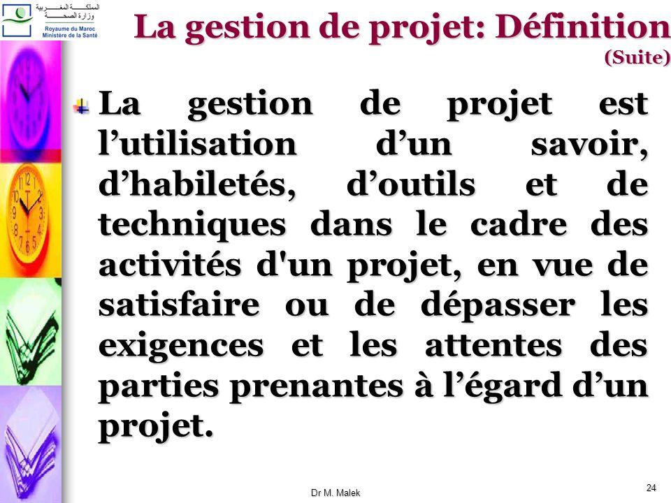 23 La gestion de projet: Définition (Suite) Cest lensemble des décisions prise et interventions effectuées dans le but dassurer le succès dun projet d