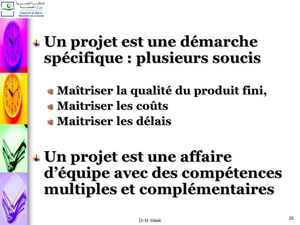 28 III.Caractéristiques dun projet Un projet est une action unique, ponctuelle, Limité dans le temps : un projet a une date de début et une date de fi