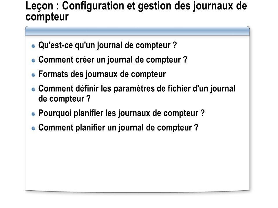 Leçon : Configuration et gestion des journaux de compteur Qu'est-ce qu'un journal de compteur ? Comment créer un journal de compteur ? Formats des jou