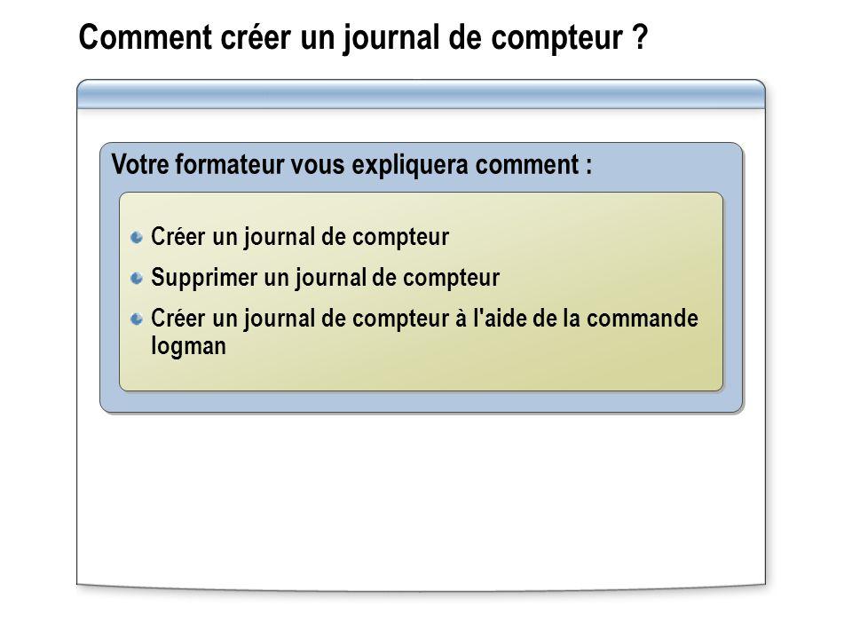 Comment créer un journal de compteur ? Votre formateur vous expliquera comment : Créer un journal de compteur Supprimer un journal de compteur Créer u
