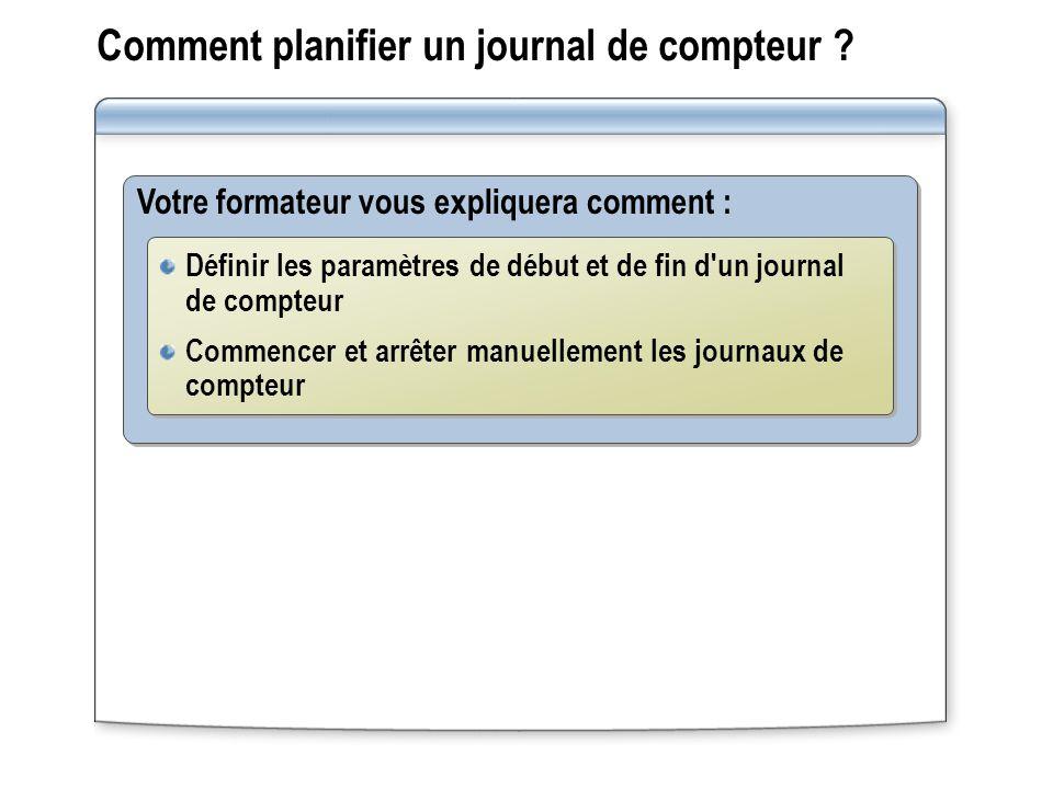 Comment planifier un journal de compteur ? Votre formateur vous expliquera comment : Définir les paramètres de début et de fin d'un journal de compteu