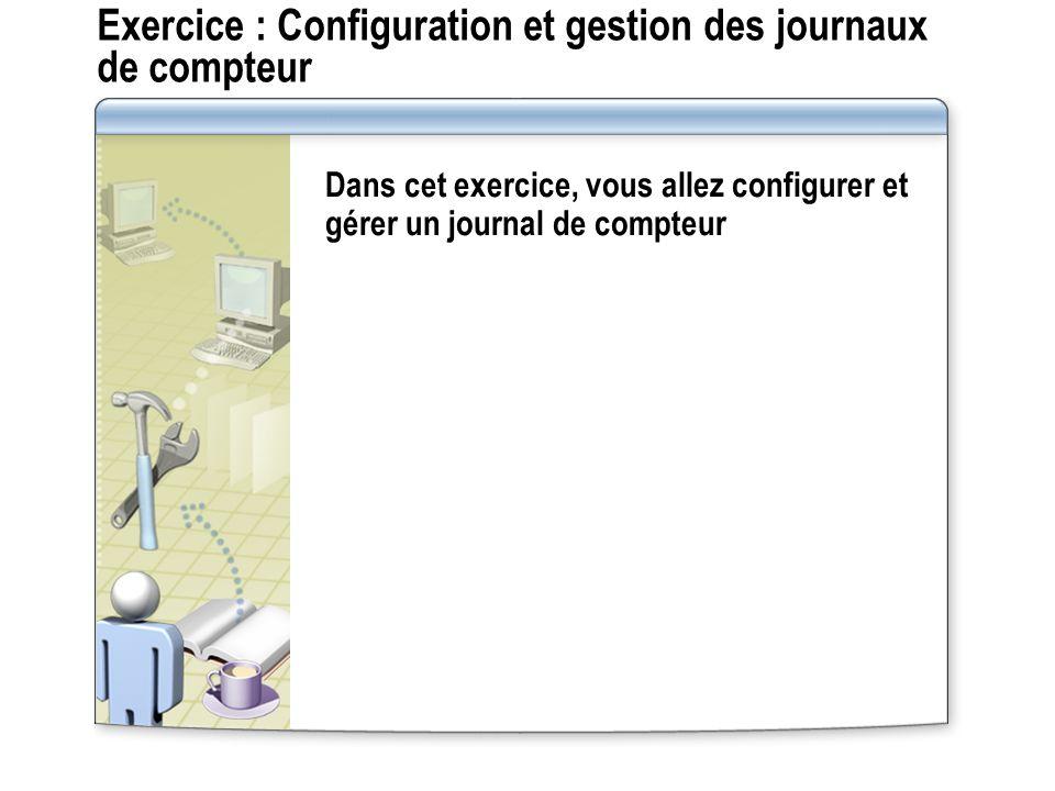 Exercice : Configuration et gestion des journaux de compteur Dans cet exercice, vous allez configurer et gérer un journal de compteur