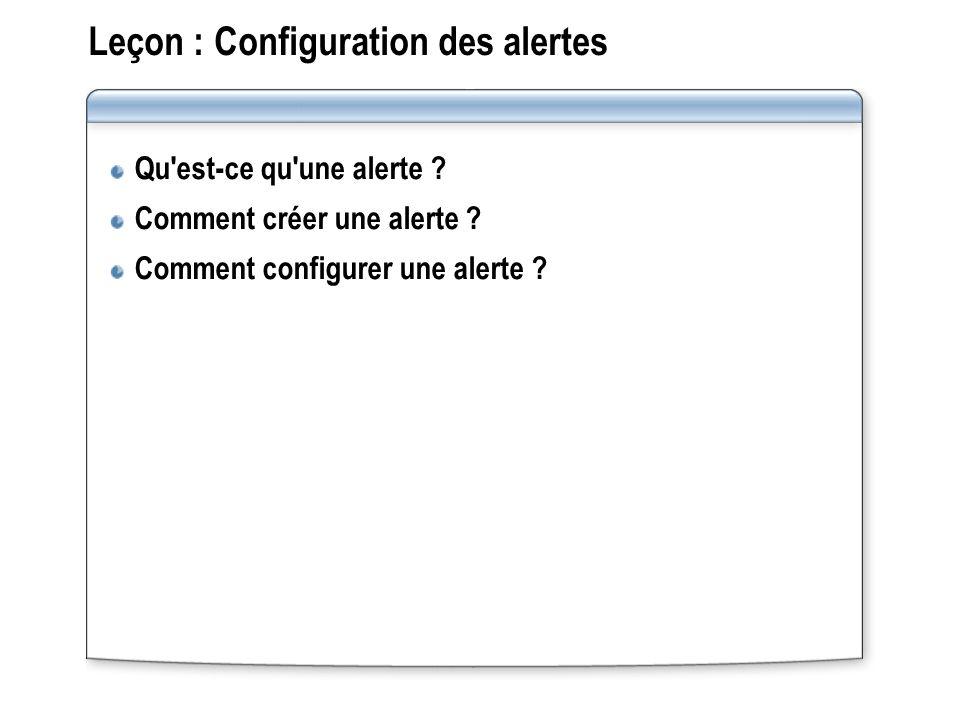 Leçon : Configuration des alertes Qu'est-ce qu'une alerte ? Comment créer une alerte ? Comment configurer une alerte ?