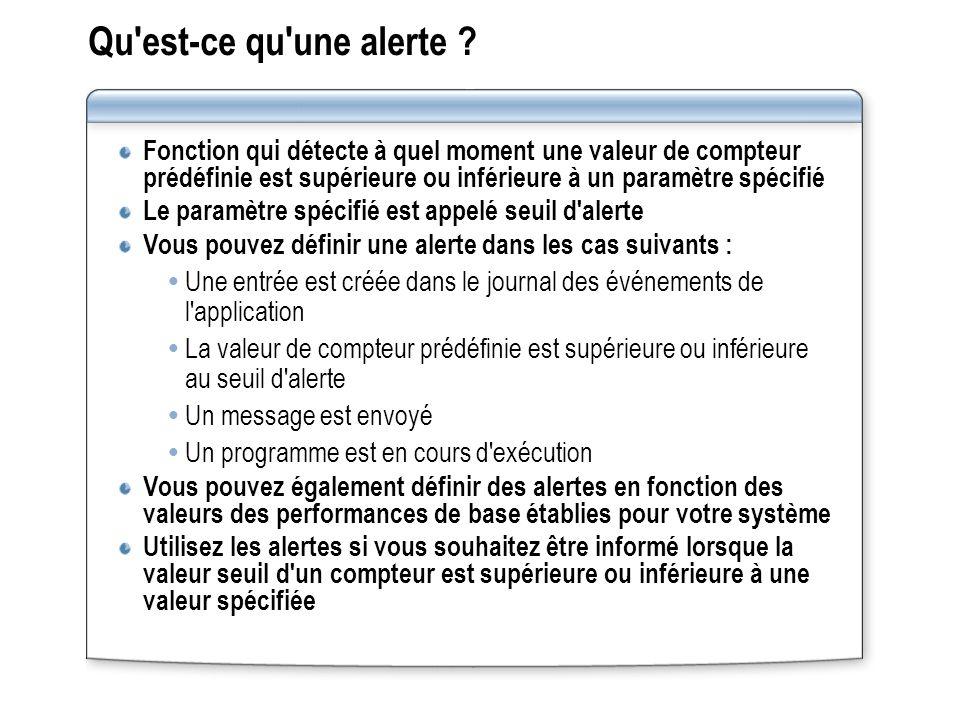 Qu'est-ce qu'une alerte ? Fonction qui détecte à quel moment une valeur de compteur prédéfinie est supérieure ou inférieure à un paramètre spécifié Le