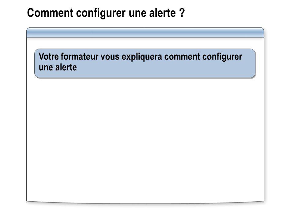 Comment configurer une alerte ? Votre formateur vous expliquera comment configurer une alerte