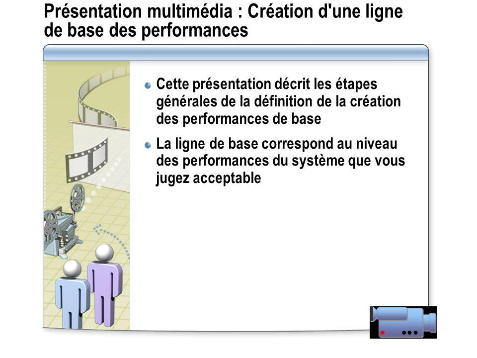 Présentation multimédia : Création d'une ligne de base des performances Cette présentation décrit les étapes générales de la définition de la création