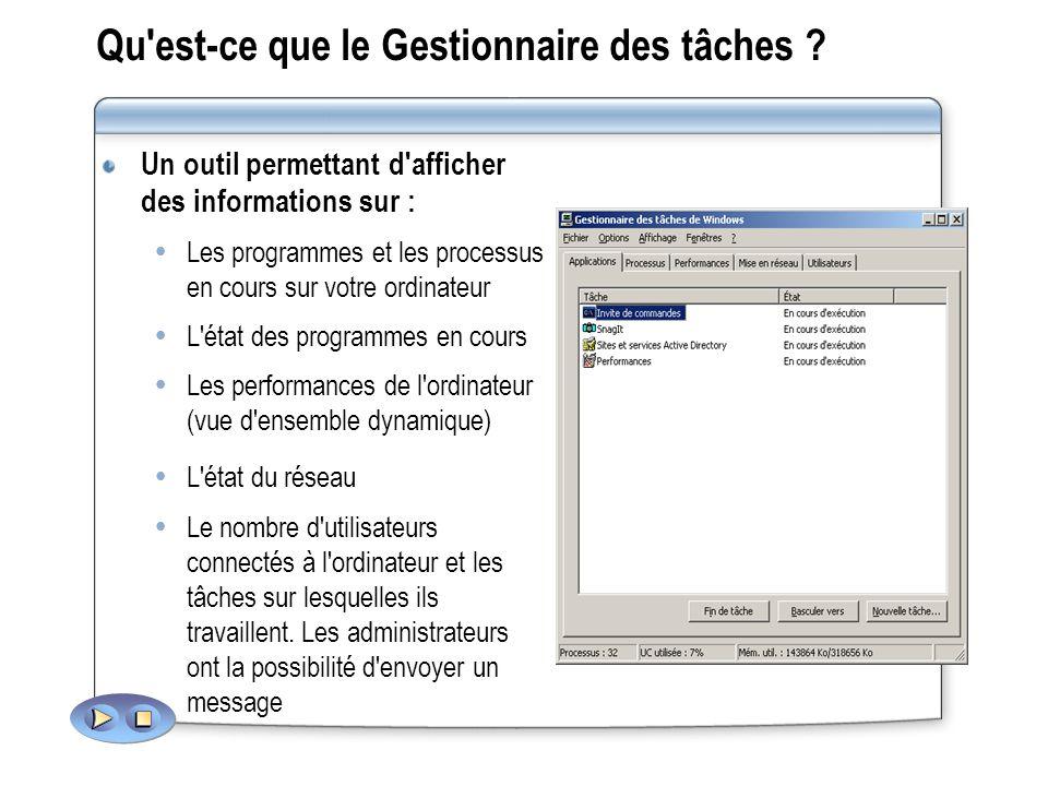 Qu'est-ce que le Gestionnaire des tâches ? Un outil permettant d'afficher des informations sur : Les programmes et les processus en cours sur votre or