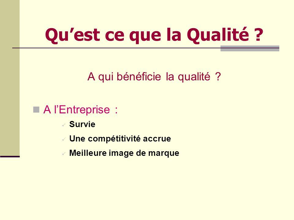 Quest ce que la Qualité .A qui bénéficie la qualité .