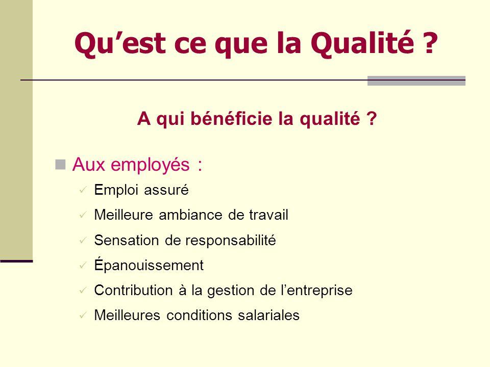 Quest ce que la Qualité ? A qui bénéficie la qualité ? A lEntreprise : Survie Une compétitivité accrue Meilleure image de marque