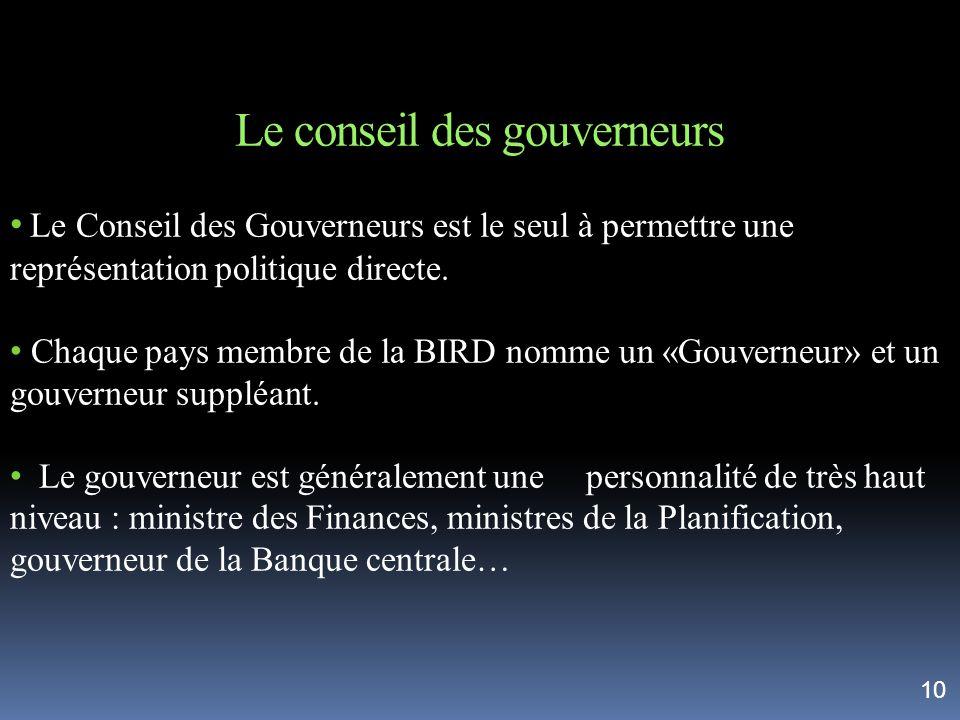 Le conseil des gouverneurs Le Conseil des Gouverneurs est le seul à permettre une représentation politique directe. Chaque pays membre de la BIRD nomm