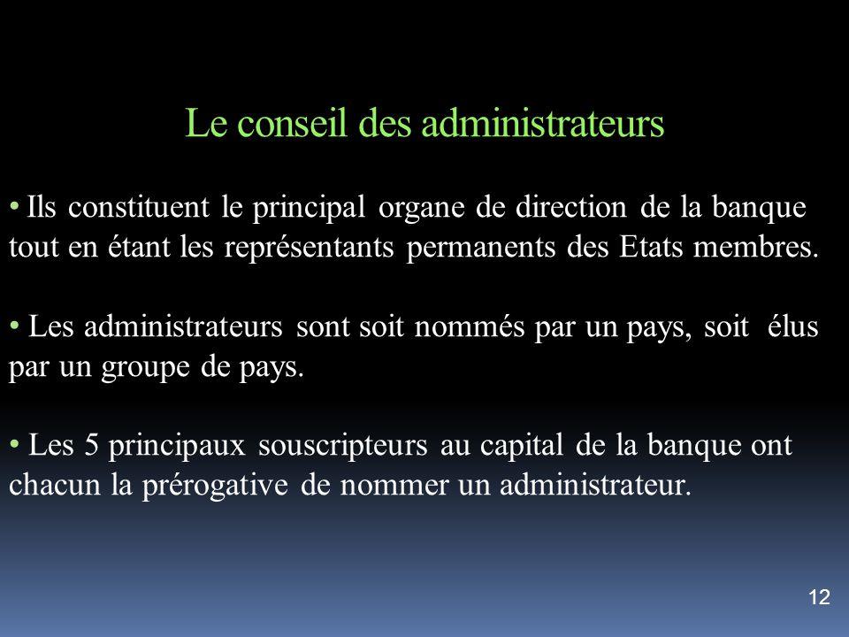 Le conseil des administrateurs Ils constituent le principal organe de direction de la banque tout en étant les représentants permanents des Etats memb