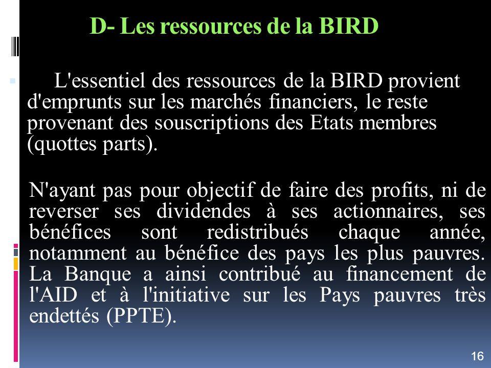 D- Les ressources de la BIRD L'essentiel des ressources de la BIRD provient d'emprunts sur les marchés financiers, le reste provenant des souscription