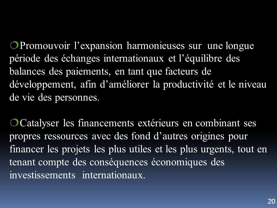 Promouvoir lexpansion harmonieuses sur une longue période des échanges internationaux et léquilibre des balances des paiements, en tant que facteurs d