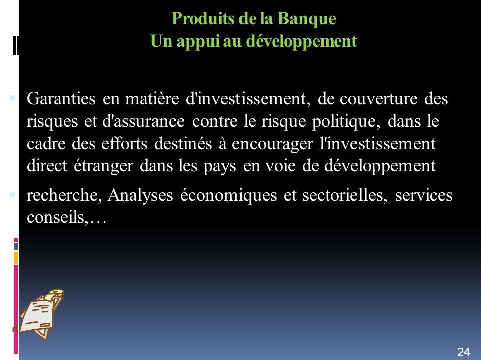 Produits de la Banque Un appui au développement Garanties en matière d'investissement, de couverture des risques et d'assurance contre le risque polit