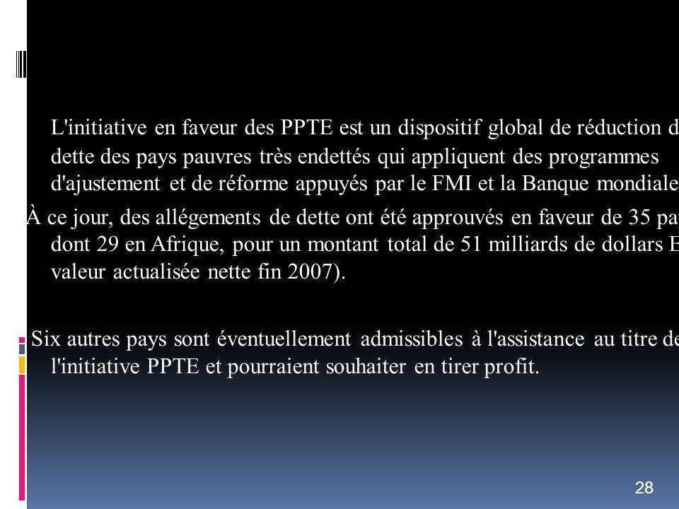 L'initiative en faveur des PPTE est un dispositif global de réduction de la dette des pays pauvres très endettés qui appliquent des programmes d'ajust