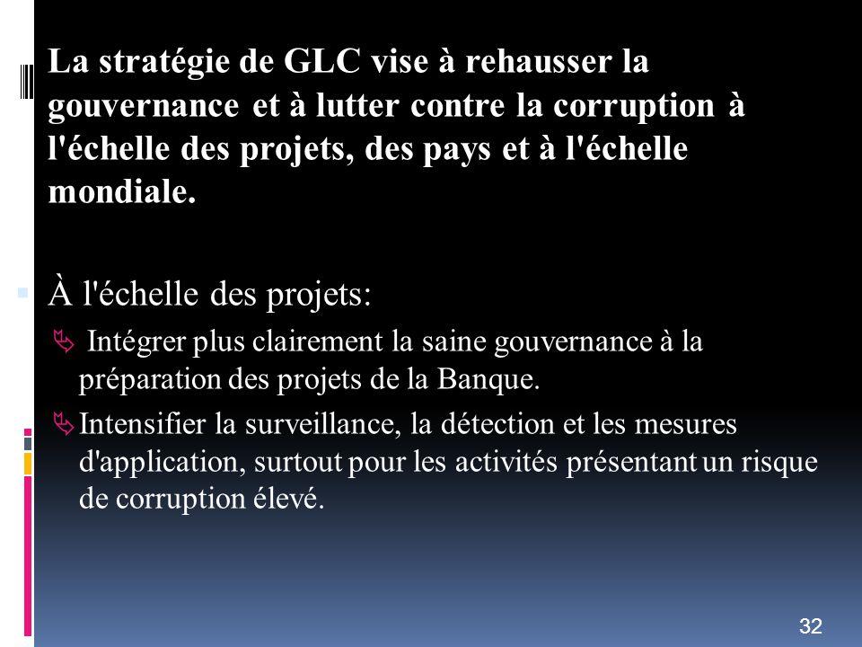 La stratégie de GLC vise à rehausser la gouvernance et à lutter contre la corruption à l'échelle des projets, des pays et à l'échelle mondiale. À l'éc