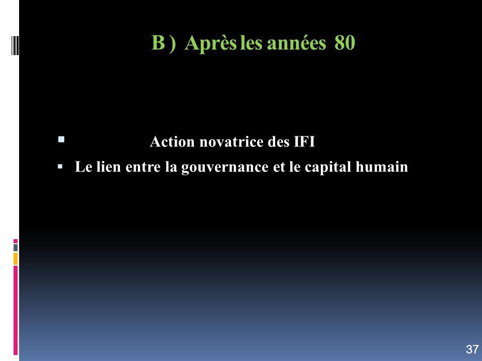 B ) Après les années 80 Action novatrice des IFI Le lien entre la gouvernance et le capital humain 37