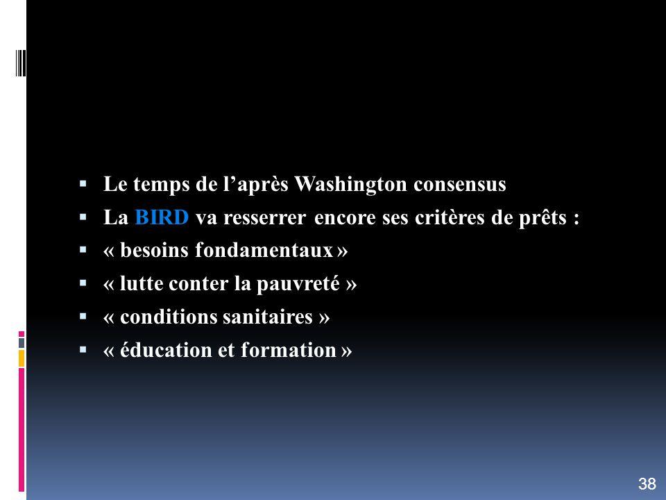 Le temps de laprès Washington consensus La BIRD va resserrer encore ses critères de prêts : « besoins fondamentaux » « lutte conter la pauvreté » « co
