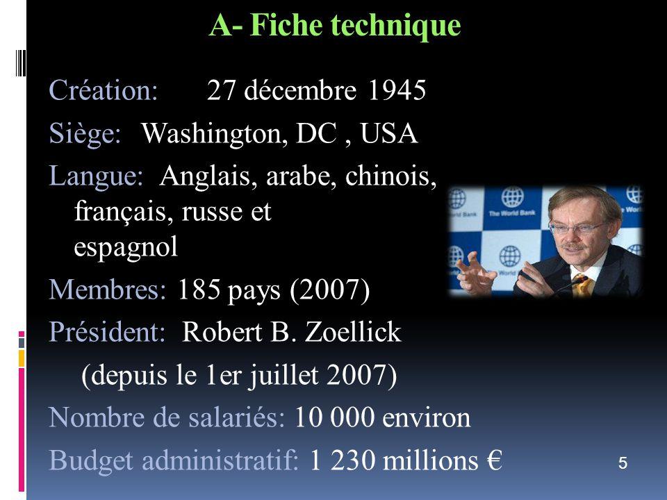 A- Fiche technique Création: 27 décembre 1945 Siège: Washington, DC, USA Langue: Anglais, arabe, chinois, français, russe et espagnol Membres: 185 pay
