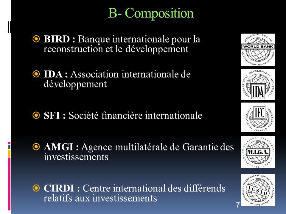 B- Composition BIRD : Banque internationale pour la reconstruction et le développement IDA : Association internationale de développement SFI : Société