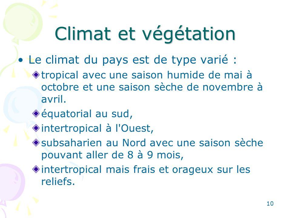 Climat et végétation Le climat du pays est de type varié : tropical avec une saison humide de mai à octobre et une saison sèche de novembre à avril.