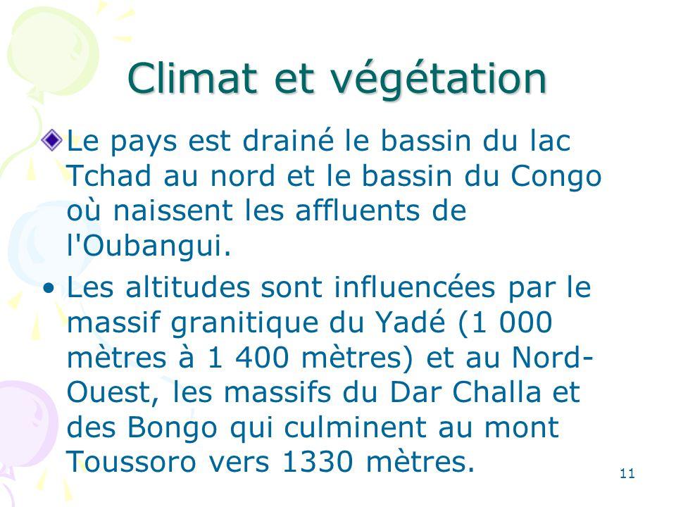 Climat et végétation Le pays est drainé le bassin du lac Tchad au nord et le bassin du Congo où naissent les affluents de l Oubangui.