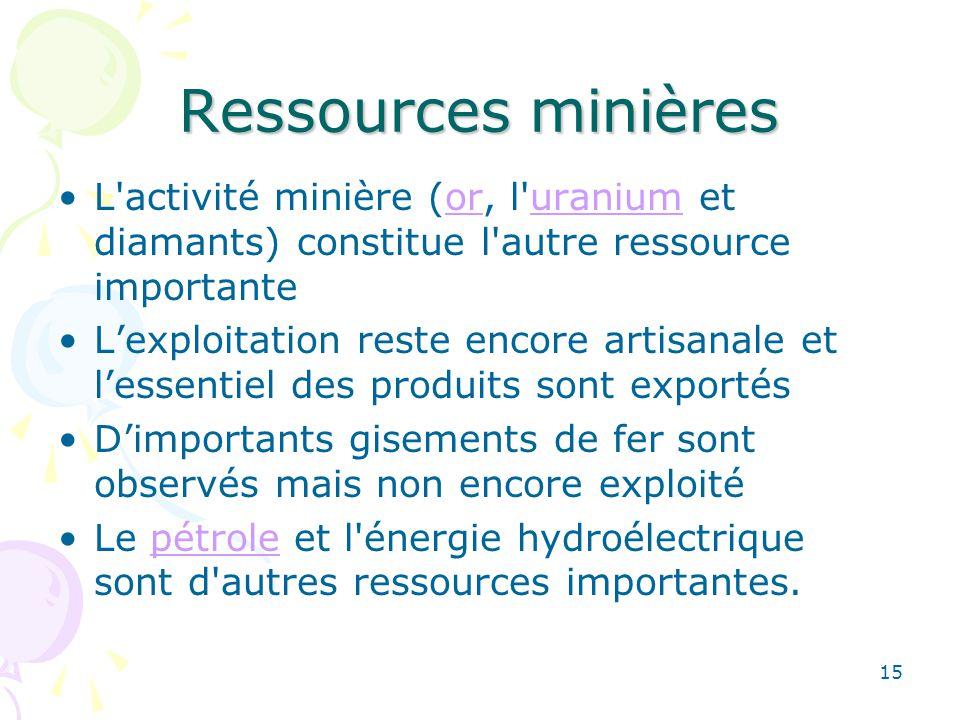 Ressources minières L activité minière (or, l uranium et diamants) constitue l autre ressource importanteoruranium Lexploitation reste encore artisanale et lessentiel des produits sont exportés Dimportants gisements de fer sont observés mais non encore exploité Le pétrole et l énergie hydroélectrique sont d autres ressources importantes.pétrole 15