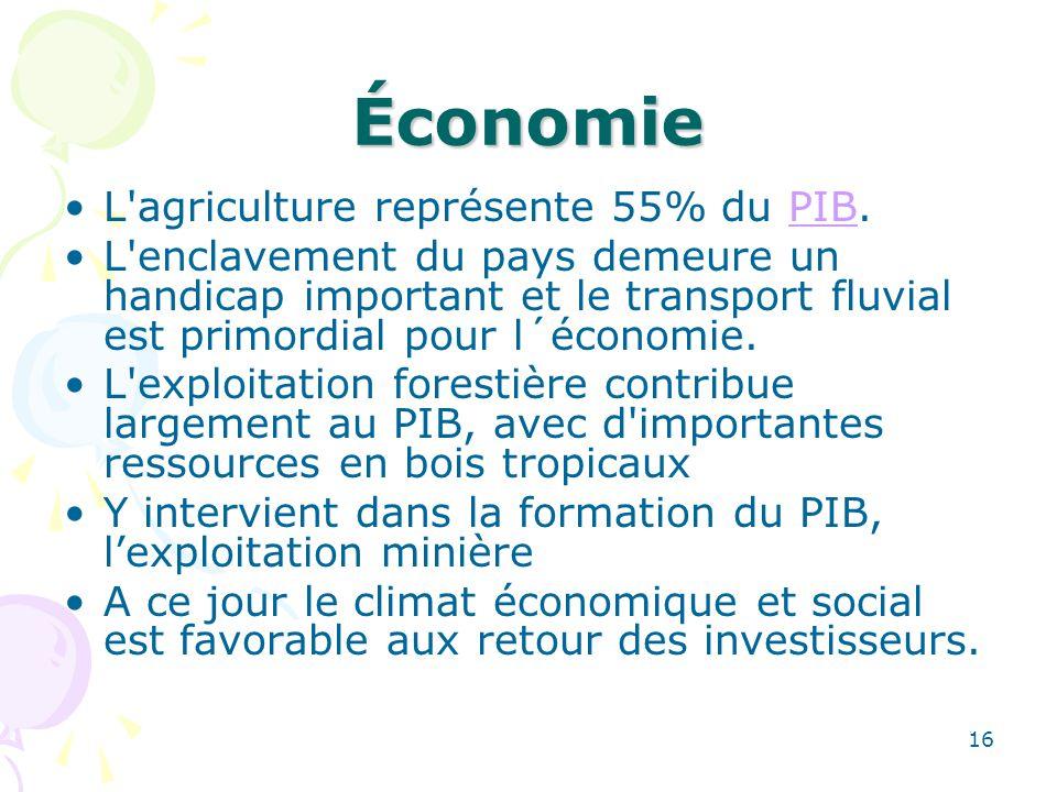 Économie L agriculture représente 55% du PIB.PIB L enclavement du pays demeure un handicap important et le transport fluvial est primordial pour l´économie.