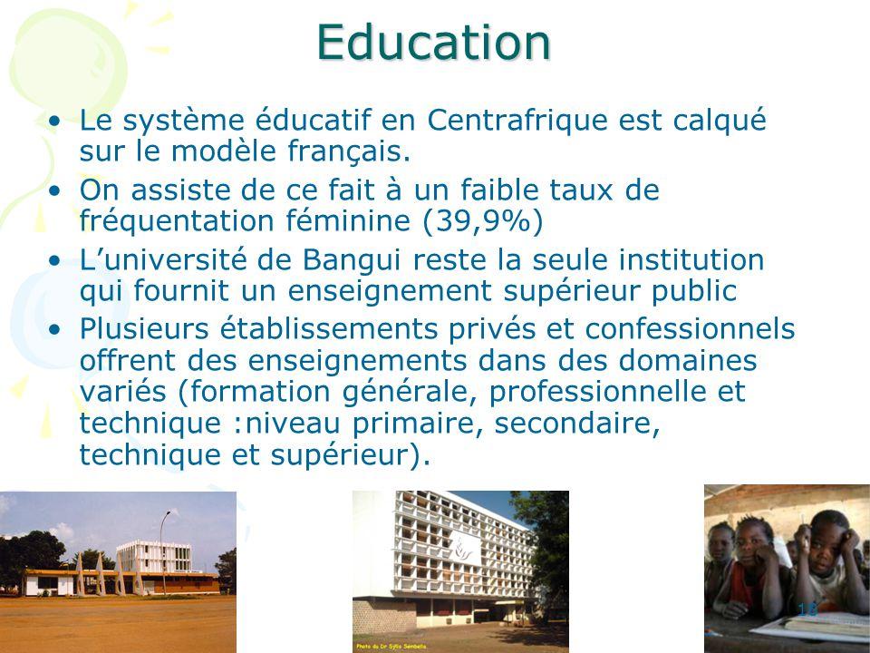 Education Le système éducatif en Centrafrique est calqué sur le modèle français.