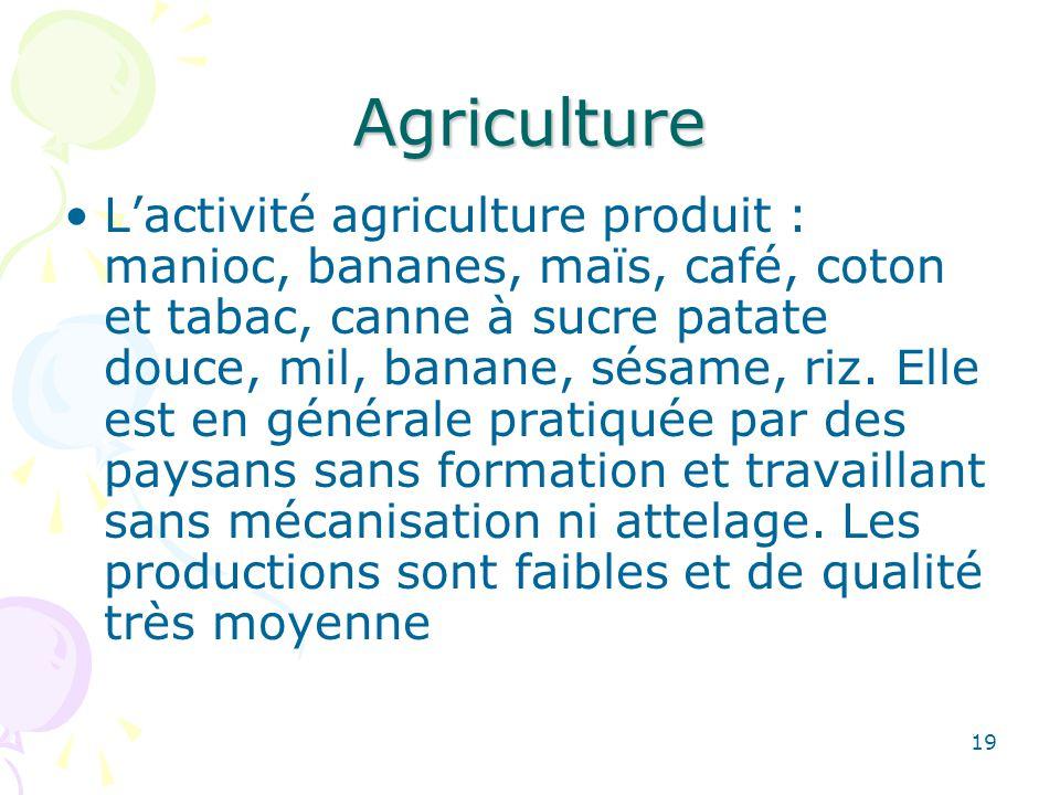 Agriculture Lactivité agriculture produit : manioc, bananes, maïs, café, coton et tabac, canne à sucre patate douce, mil, banane, sésame, riz.