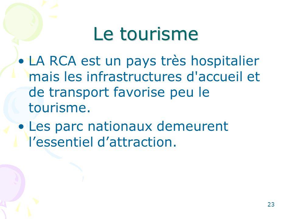 Le tourisme LA RCA est un pays très hospitalier mais les infrastructures d accueil et de transport favorise peu le tourisme.