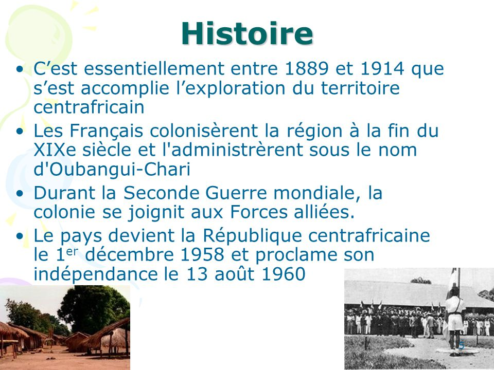 Généralités Bangui est la capitale Langues officielles : français et sängö (langue véhiculaire permettant à chacun de se comprendre, même sans éducation scolaire avancée) Devise : Unité, Dignité, Travail Drapeau : quatre bandes horizontales: bleu, blanc, vert, jaune, barrées perpendiculairement en leur milieu par une bande rouge.