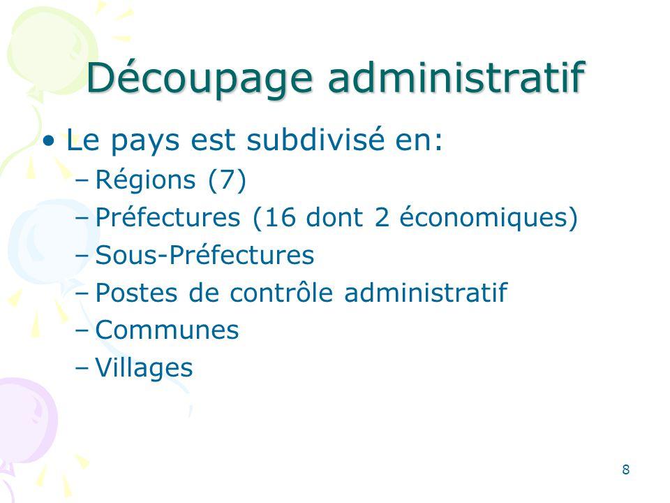 Découpage administratif Le pays est subdivisé en: –Régions (7) –Préfectures (16 dont 2 économiques) –Sous-Préfectures –Postes de contrôle administratif –Communes –Villages 8