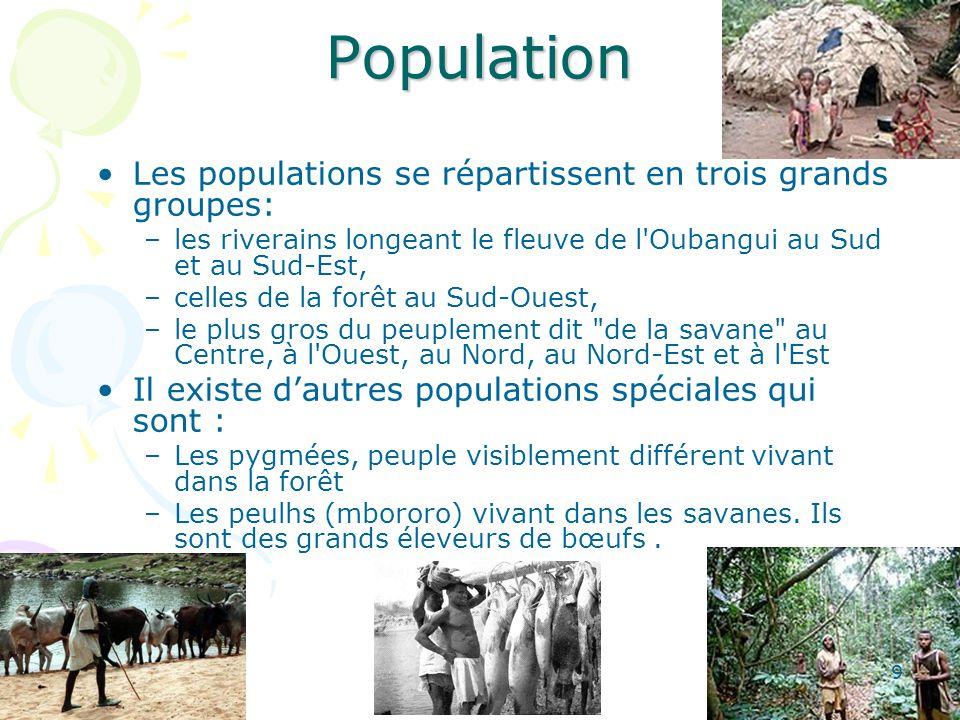 Population Les populations se répartissent en trois grands groupes: –les riverains longeant le fleuve de l Oubangui au Sud et au Sud-Est, –celles de la forêt au Sud-Ouest, –le plus gros du peuplement dit de la savane au Centre, à l Ouest, au Nord, au Nord-Est et à l Est Il existe dautres populations spéciales qui sont : –Les pygmées, peuple visiblement différent vivant dans la forêt –Les peulhs (mbororo) vivant dans les savanes.