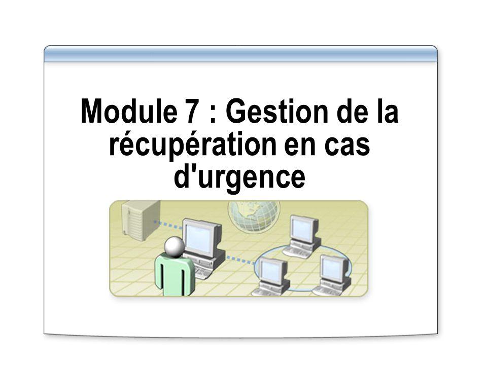 Vue d ensemble Préparation de la récupération en cas d urgence Sauvegarde des données Planification des opérations de sauvegarde Restauration des données Configuration des clichés instantanés Récupération suite à une défaillance du serveur Choix d une méthode de récupération en cas d urgence