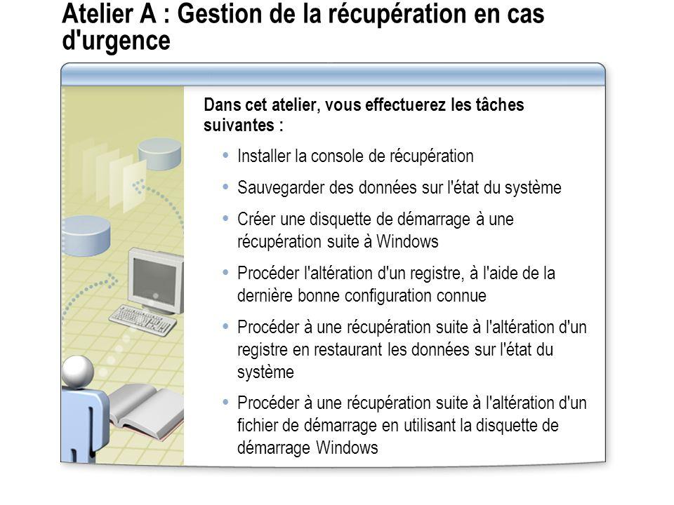 Atelier A : Gestion de la récupération en cas d urgence Dans cet atelier, vous effectuerez les tâches suivantes : Installer la console de récupération Sauvegarder des données sur l état du système Créer une disquette de démarrage à une récupération suite à Windows Procéder l altération d un registre, à l aide de la dernière bonne configuration connue Procéder à une récupération suite à l altération d un registre en restaurant les données sur l état du système Procéder à une récupération suite à l altération d un fichier de démarrage en utilisant la disquette de démarrage Windows