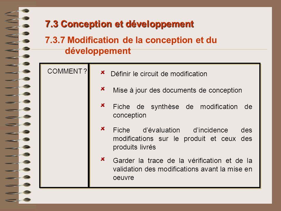 7.3 Conception et développement 7.3.7 Modification de la conception et du développement Définir le circuit de modification Mise à jour des documents d