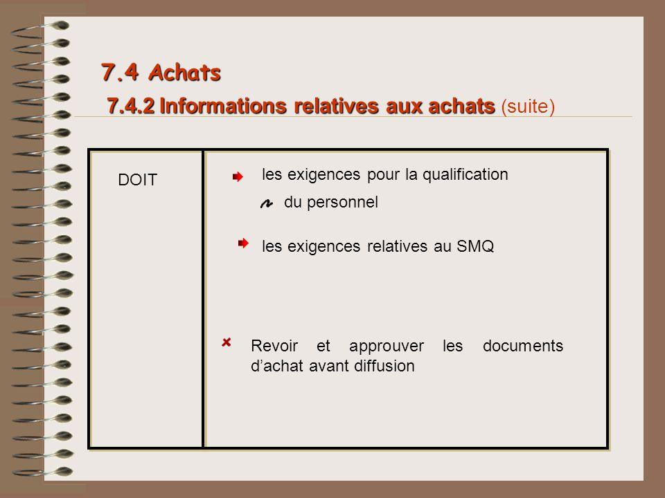 7.4.2 Informations relatives aux achats 7.4.2 Informations relatives aux achats (suite) DOIT les exigences pour la qualification du personnel 7.4 Acha