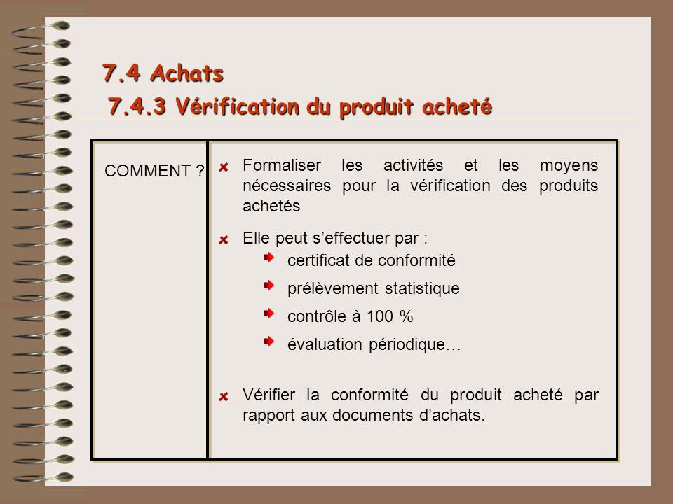 7.4.3 V é rification du produit achet é 7.4 Achats COMMENT ? Formaliser les activités et les moyens nécessaires pour la vérification des produits ache