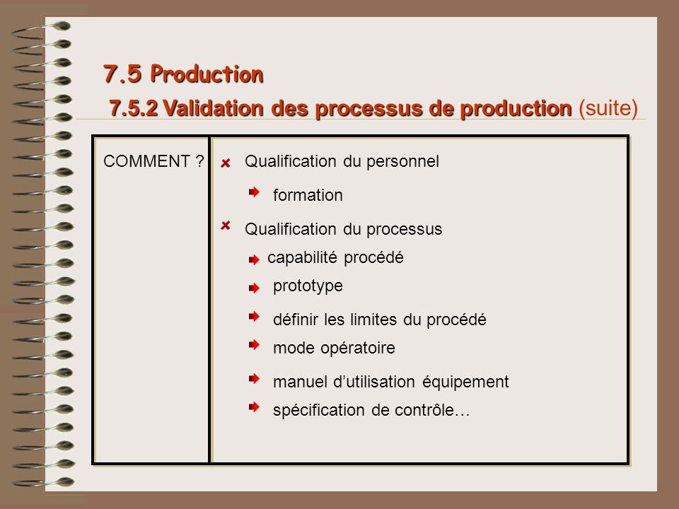 7.5.2 Validation des processus de production 7.5.2 Validation des processus de production (suite) 7.5 Production COMMENT ?Qualification du personnel c
