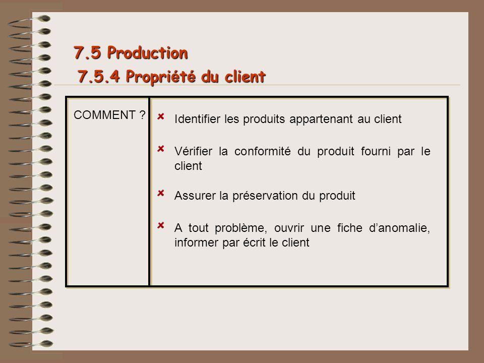 7.5.4 Propri é t é du client 7.5 Production COMMENT ? Identifier les produits appartenant au client Vérifier la conformité du produit fourni par le cl