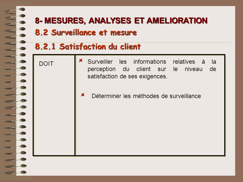 8- MESURES, ANALYSES ET AMELIORATION Surveiller les informations relatives à la perception du client sur le niveau de satisfaction de ses exigences. D